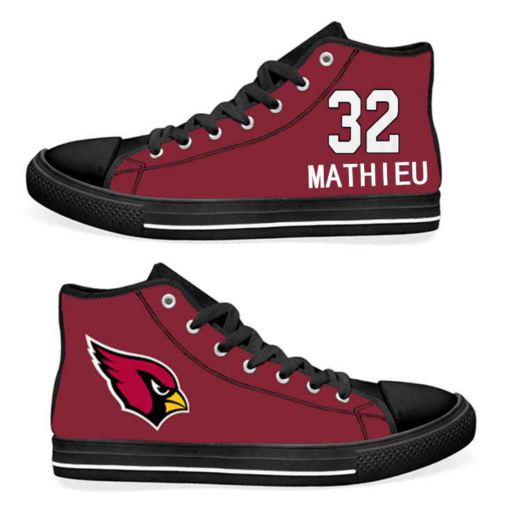 NFL Arizona Cardinals 32# Tyrann Mathieu Cardinal Hand Painted Unisex Custom Centre-TOP Canvas Shoes