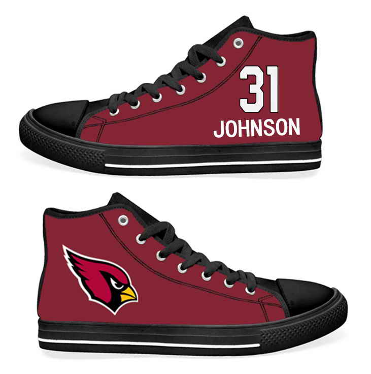 NFL Arizona Cardinals 31# David Johnson Cardinal Hand Painted Unisex Custom Centre-TOP Canvas Shoes