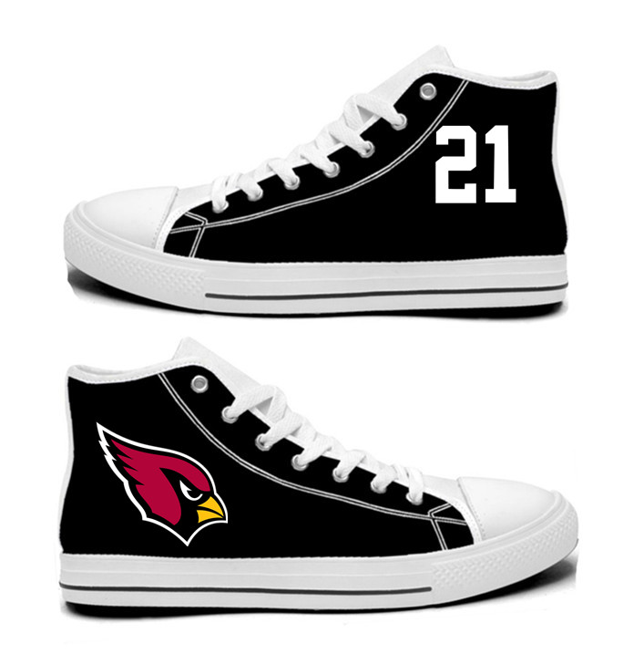 NFL Arizona Cardinals 21#  Patrick Peterson  black Hand Painted Unisex Custom Centre-TOP Canvas Shoes
