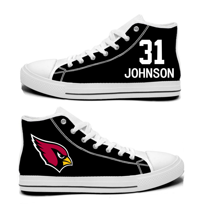 NFL Arizona Cardinals 31# David Johnson black Hand Painted Unisex Custom Centre-TOP Canvas Shoes