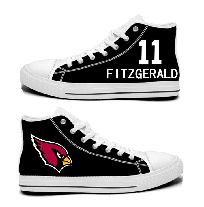 NFL Arizona Cardinals 11#  Larry Fitzgerald  black Hand Painted Unisex Custom Centre-TOP Canvas Shoes