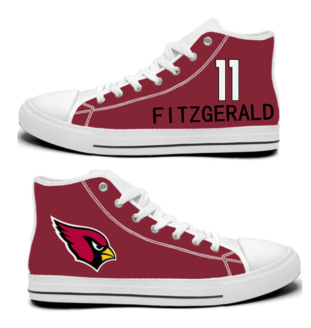 NFL Arizona Cardinals 11#  Larry Fitzgerald  red Hand Painted Unisex Custom Centre-TOP Canvas Shoes