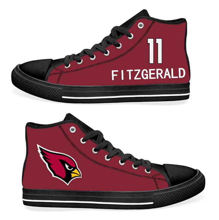 NFL Arizona Cardinals 11#  Larry Fitzgerald  Cardinal Hand Painted Unisex Custom Centre-TOP Canvas Shoes