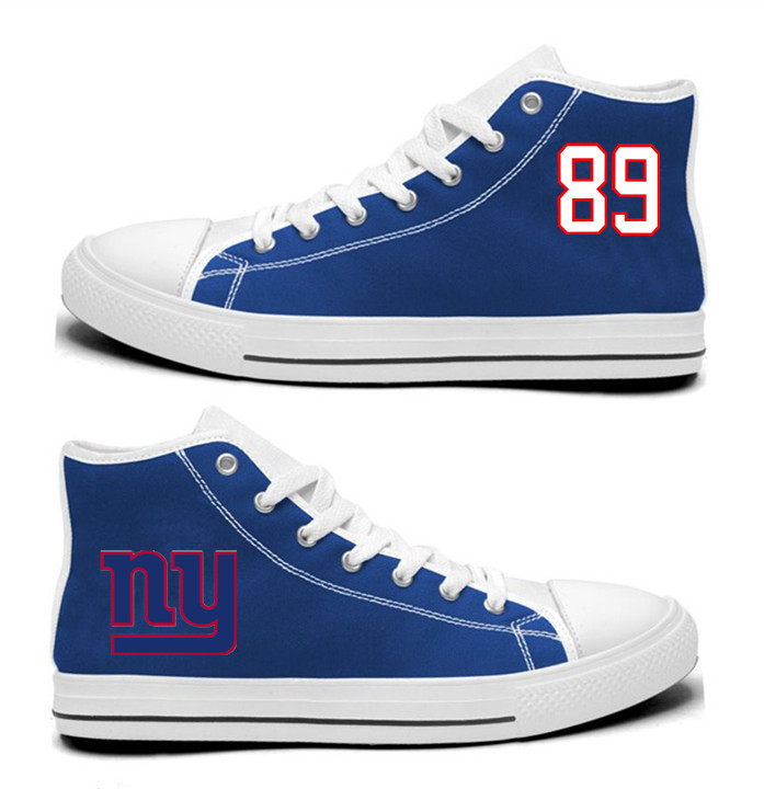 NFL New York Giants 89# Mark Bavaro Royal Blue Hand Painted Unisex Custom Centre-TOP Canvas Shoes