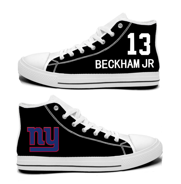 NFL New York Giants 13# Odell Beckham Jr black Hand Painted Unisex Custom Centre-TOP Canvas Shoes