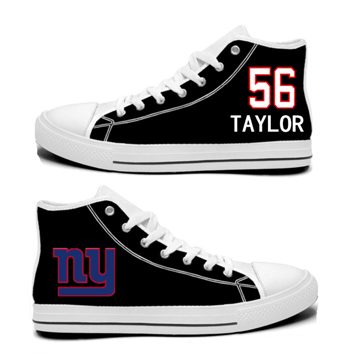 NFL New York Giants 56#  Lawrence Taylor  black Hand Painted Unisex Custom Centre-TOP Canvas Shoes