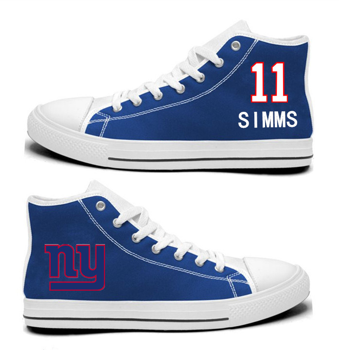 NFL New York Giants 11# Phil Simms Royal Blue Hand Painted Unisex Custom Centre-TOP Canvas Shoes