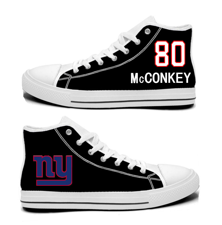 NFL New York Giants 80#  Phil McConkey blackHand Painted Unisex Custom Centre-TOP Canvas Shoes
