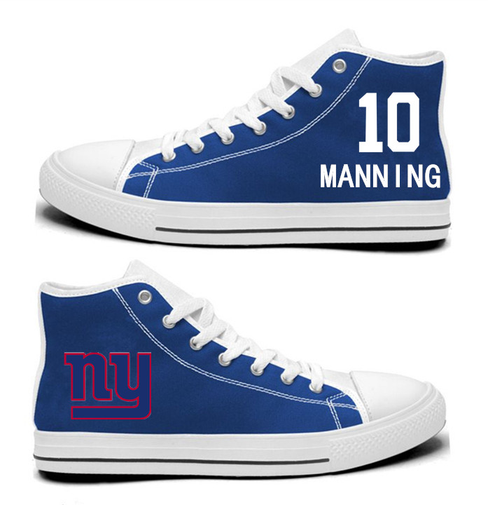 NFL New York Giants 10# Eli Manning Royal Blue Hand Painted Unisex Custom Centre-TOP Canvas Shoes