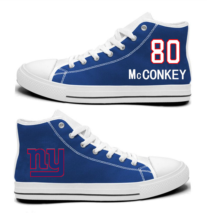 NFL New York Giants 80#  Phil McConkey Royal Blue Hand Painted Unisex Custom Centre-TOP Canvas Shoes