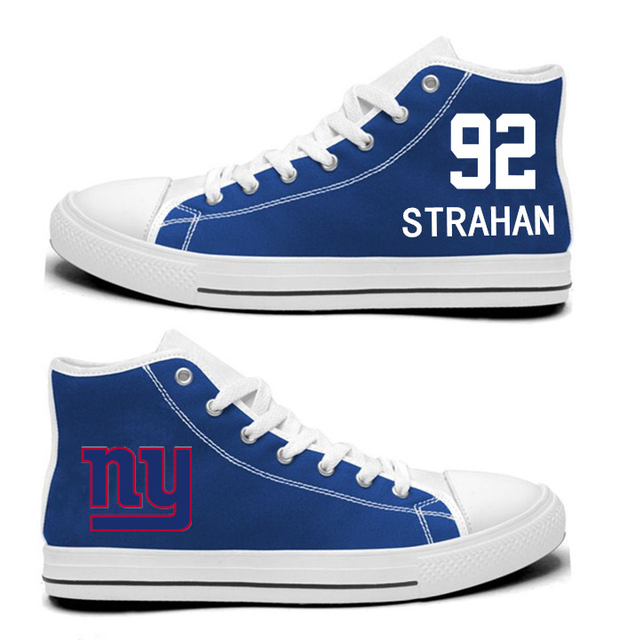 NFL New York Giants 92# Michael Strahan Royal Blue Hand Painted Unisex Custom Centre-TOP Canvas Shoes