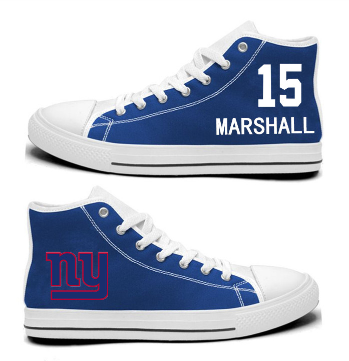 NFL New York Giants 15#  Brandon Marshall  Royal Blue Hand Painted Unisex Custom Centre-TOP Canvas Shoes