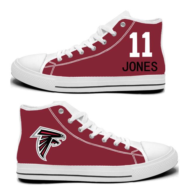 NFL Atlanta Falcons 11# Julio Jones Red Hand Painted Unisex Custom Centre-TOP Canvas Shoes
