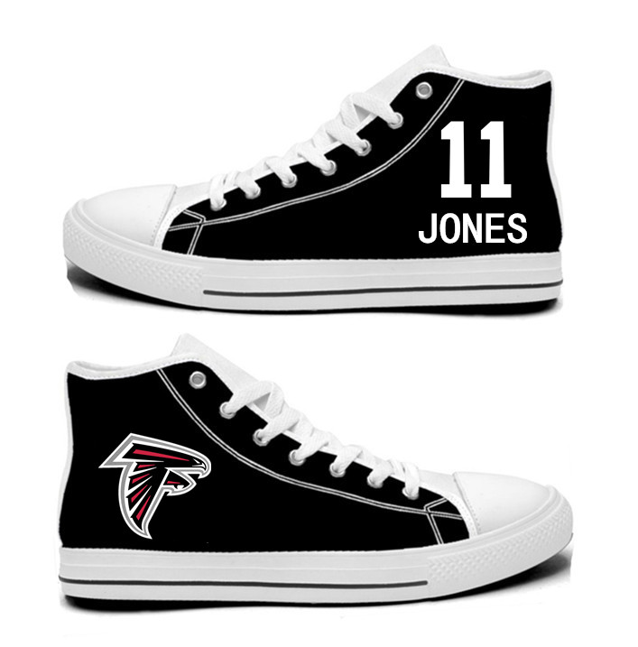 NFL Atlanta Falcons 11# Julio Jones black Hand Painted Unisex Custom Centre-TOP Canvas Shoes