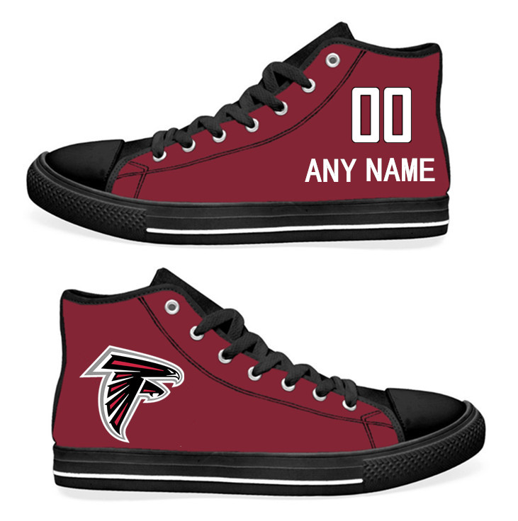NFL Atlanta Falcons BLACK Red Hand Painted Unisex Custom Centre-TOP Canvas Shoes