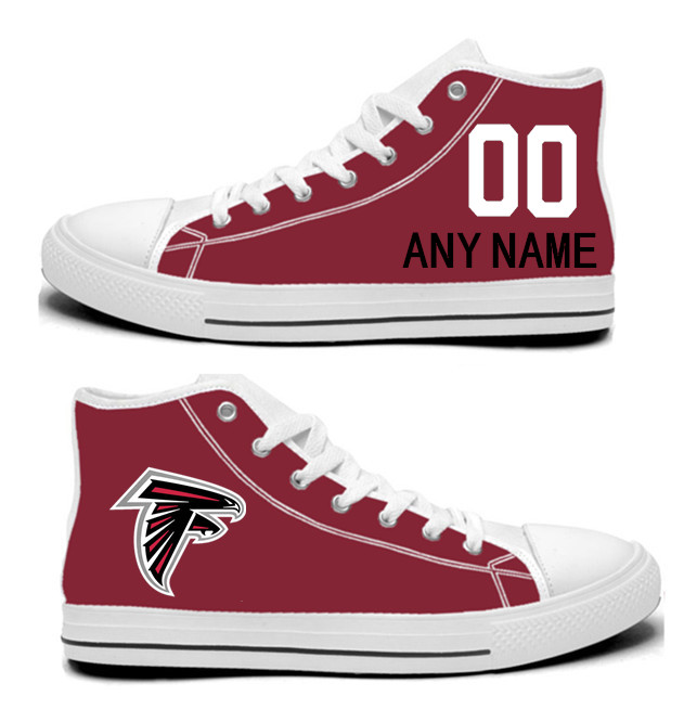 NFL Atlanta Falcons Red Hand Painted Unisex Custom Centre-TOP Canvas Shoes