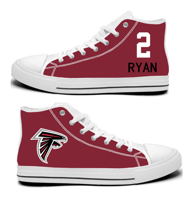 NFL Atlanta Falcons 2#  Matt Ryan  Red Hand Painted Unisex Custom Centre-TOP Canvas Shoes