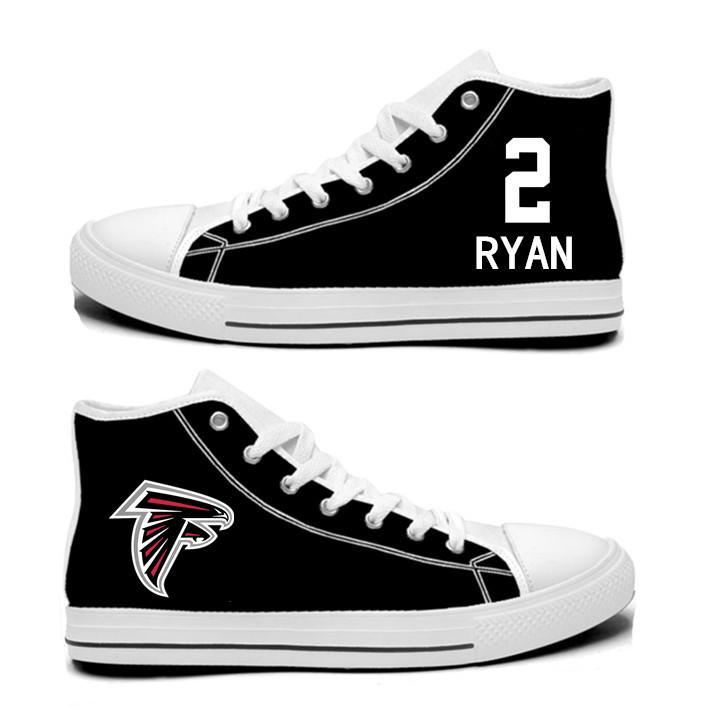 NFL Atlanta Falcons 2#  Matt Ryan  black Hand Painted Unisex Custom Centre-TOP Canvas Shoes