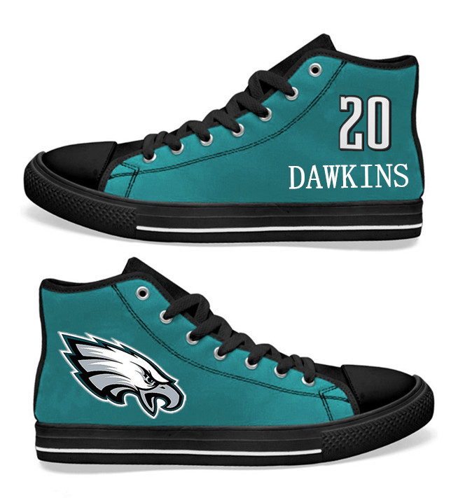 NFL Philadelphia Eagles 20#  Brian Dawkins  Midnight Green Hand Painted Unisex Custom Centre-TOP Canvas Shoes