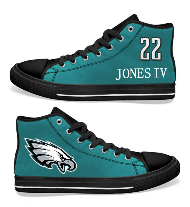 NFL Philadelphia Eagles 22# Sidney Jones Midnight Green Hand Painted Unisex Custom Centre-TOP Canvas Shoes
