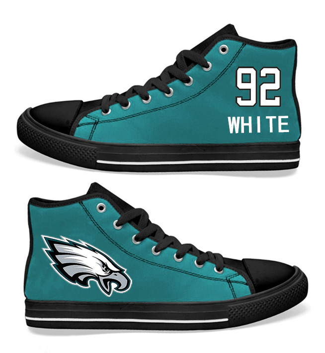 NFL Philadelphia Eagles 92#  Reggie White  Midnight Green Hand Painted Unisex Custom Centre-TOP Canvas Shoes