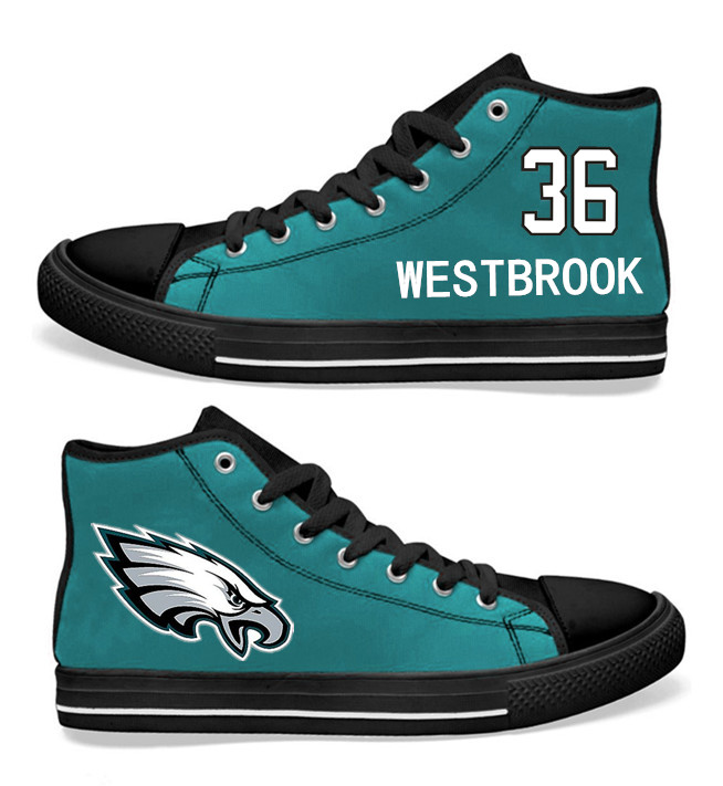 NFL Philadelphia Eagles 36# Brian Westbrook Midnight Green Hand Painted Unisex Custom Centre-TOP Canvas Shoes