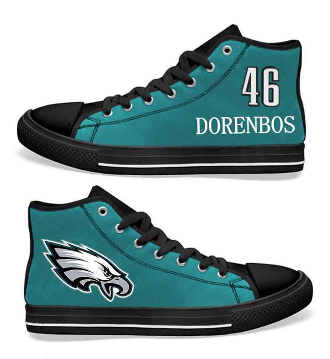 NFL Philadelphia Eagles 46# Jon Dorenbos Midnight Green Hand Painted Unisex Custom Centre-TOP Canvas Shoes