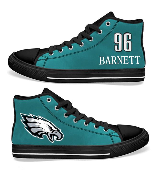 NFL Philadelphia Eagles 96# Derek Barnett  Midnight Green Hand Painted Unisex Custom Centre-TOP Canvas Shoes