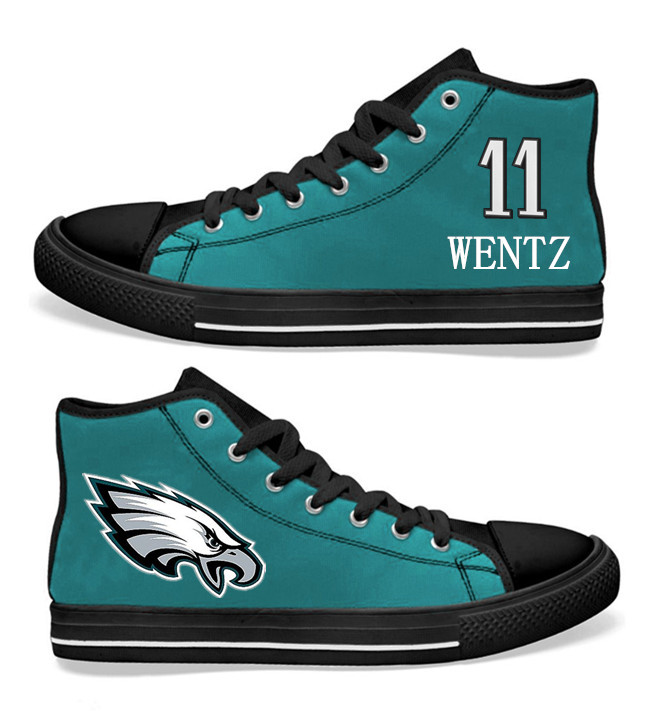 NFL Philadelphia Eagles 11# Carson Wentz Midnight Green  Hand Painted Unisex Custom Centre-TOP Canvas Shoes