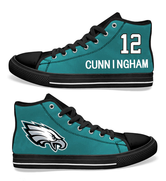 NFL Philadelphia Eagles 12# Randall Cunningham Midnight Green Hand Painted Unisex Custom Centre-TOP Canvas Shoes