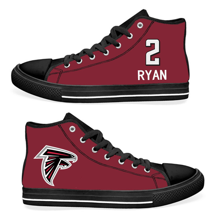 NFL Atlanta Falcons 2#  Matt Ryan  black Red Hand Painted Unisex Custom Centre-TOP Canvas Shoes