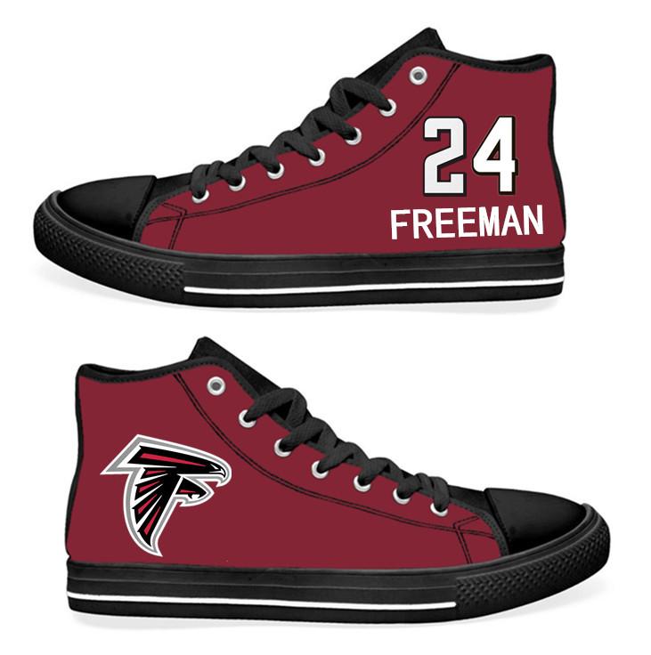 NFL Atlanta Falcons 24# Devonta Freeman  black Red Hand Painted Unisex Custom Centre-TOP Canvas Shoes