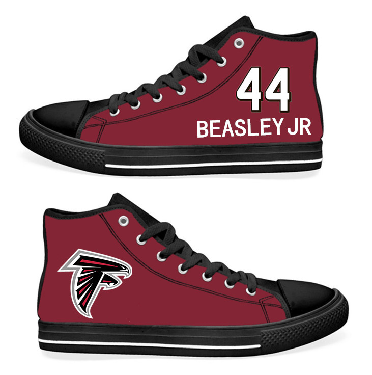 NFL Atlanta Falcons 44# Vic Beasley black Red Hand Painted Unisex Custom Centre-TOP Canvas Shoes