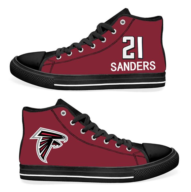 NFL Atlanta Falcons 21#  Deion Sanders  black Red Hand Painted Unisex Custom Centre-TOP Canvas Shoes