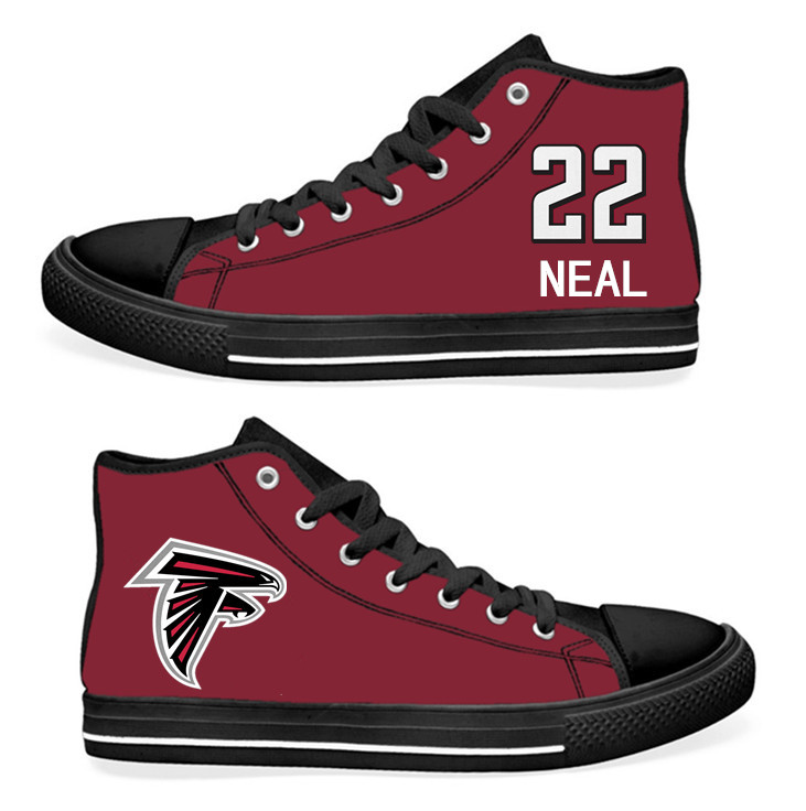 NFL Atlanta Falcons 22# Keanu Neal black Red Hand Painted Unisex Custom Centre-TOP Canvas Shoes
