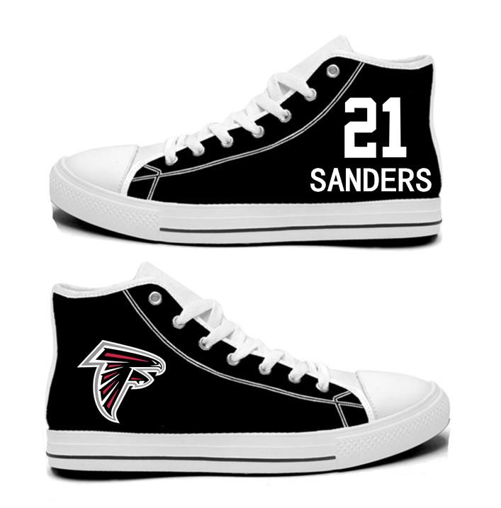 NFL Atlanta Falcons 21#  Deion Sanders  black Hand Painted Unisex Custom Centre-TOP Canvas Shoes