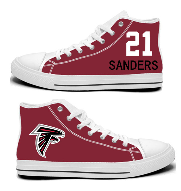 NFL Atlanta Falcons 21#  Deion Sanders  Red Hand Painted Unisex Custom Centre-TOP Canvas Shoes