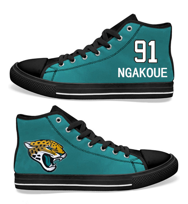 NFL Jacksonville Jaguars 91#   Yannick Ngakoue  Teal Hand Painted Unisex Custom Centre-TOP Canvas Shoes