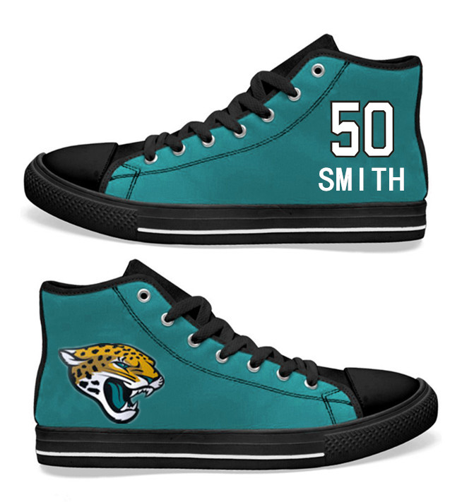 NFL Jacksonville Jaguars 50# Telvin Smith Teal Hand Painted Unisex Custom Centre-TOP Canvas Shoes