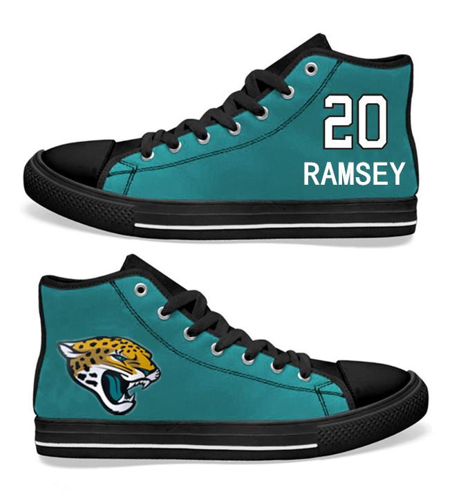 NFL Jacksonville Jaguars 20# Jalen Ramsey Teal Hand Painted Unisex Custom Centre-TOP Canvas Shoes