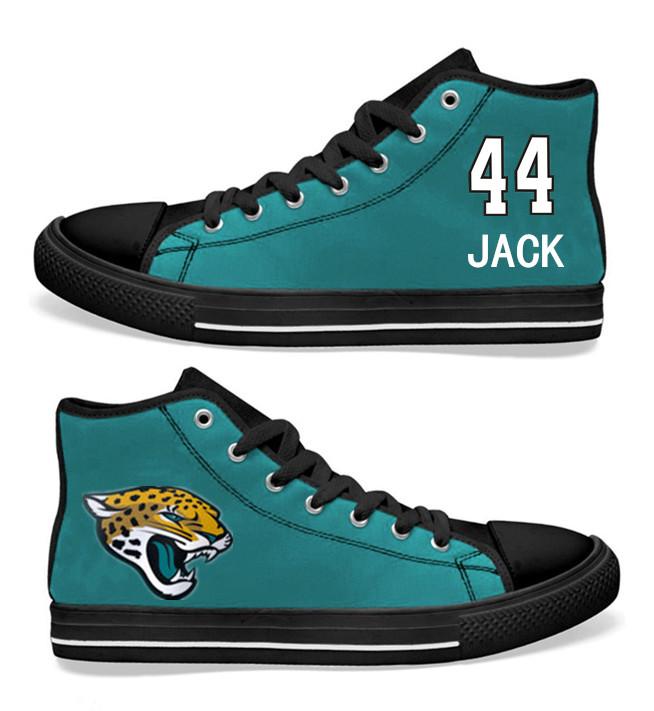 NFL Jacksonville Jaguars 44#  Myles Jack Teal Hand Painted Unisex Custom Centre-TOP Canvas Shoes