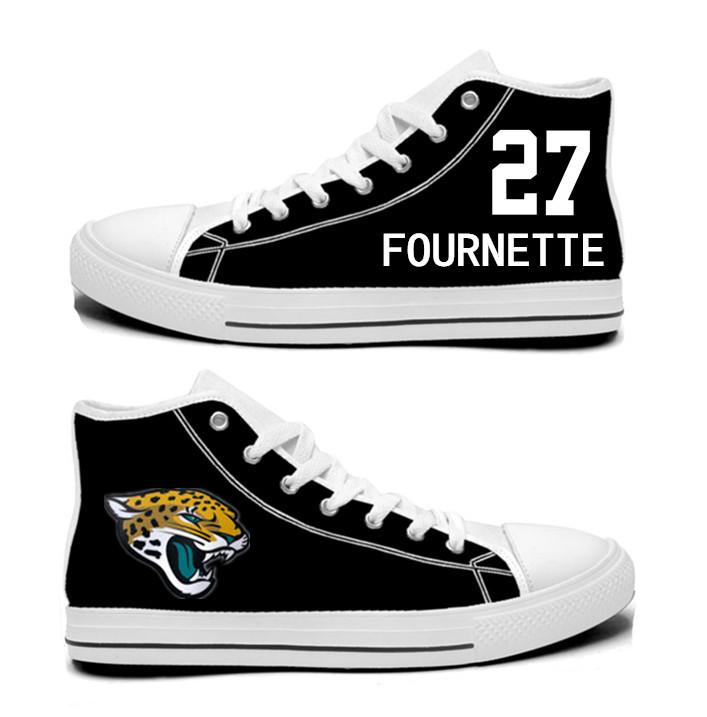 NFL Jacksonville Jaguars 27# Leonard Fournette black Hand Painted Unisex Custom Centre-TOP Canvas Shoes
