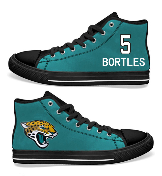 NFL Jacksonville Jaguars 5#  Blake Bortles  Teal Hand Painted Unisex Custom Centre-TOP Canvas Shoes