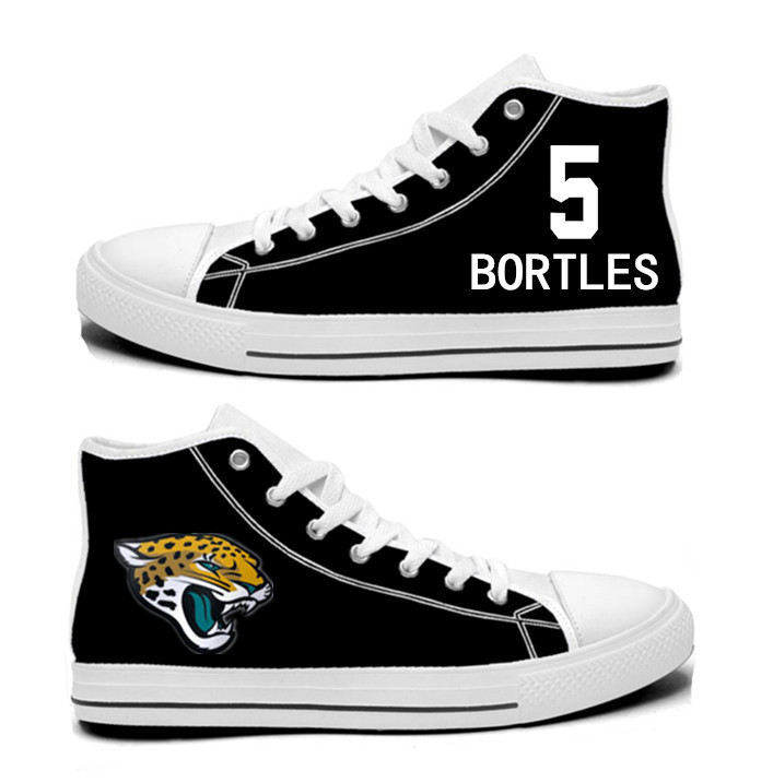 NFL Jacksonville Jaguars 5#  Blake Bortles  black Hand Painted Unisex Custom Centre-TOP Canvas Shoes