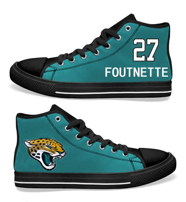 NFL Jacksonville Jaguars 27# Leonard Fournette Teal Hand Painted Unisex Custom Centre-TOP Canvas Shoes