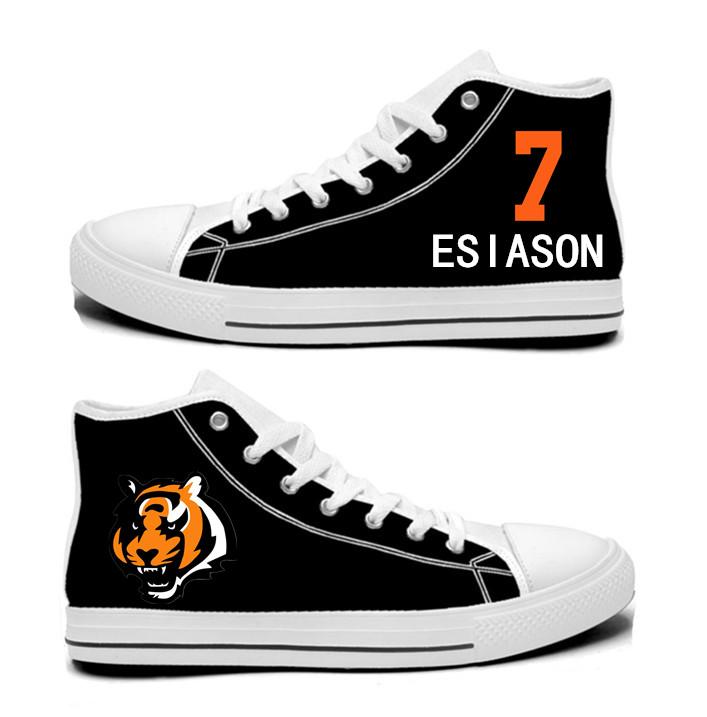 NFL Cincinnati Bengals 7# Esiason Mitchell  black Hand Painted Unisex Custom Centre-TOP Canvas Shoes