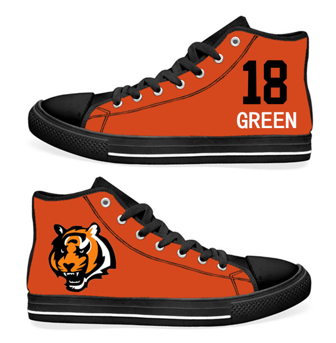 NFL Cincinnati Bengals 18# A.J. Green Orange Hand Painted Unisex Custom Centre-TOP Canvas Shoes