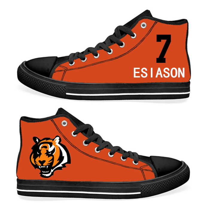 NFL Cincinnati Bengals 7# Esiason Mitchell  Orange Hand Painted Unisex Custom Centre-TOP Canvas Shoes