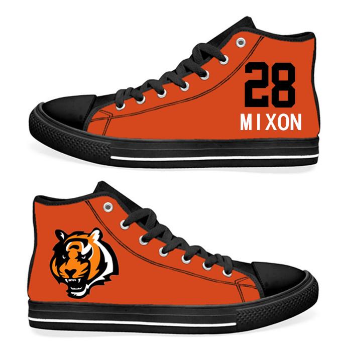 NFL Cincinnati Bengals 28# Joe Mixon  Orange Hand Painted Unisex Custom Centre-TOP Canvas Shoes