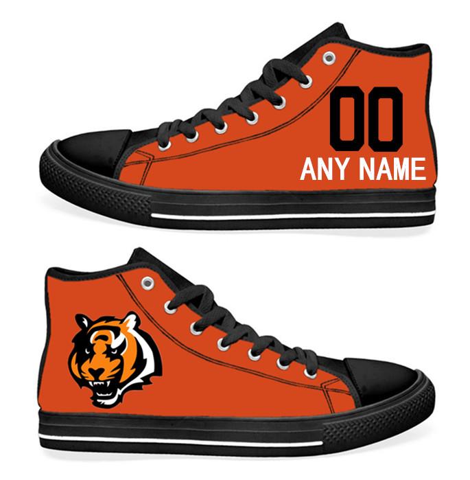 NFL Cincinnati Bengals Orange Hand Painted Unisex Custom Centre-TOP Canvas Shoes